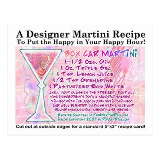 Box Car Martini Recipe Postcard