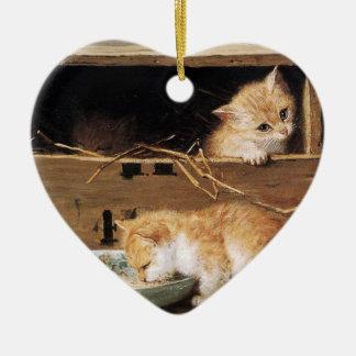 Box cat ceramic ornament