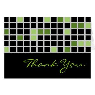 Box Checkered Thank You Card (Black,Green)