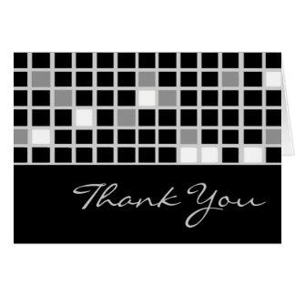 Box Checkered Thank You Card (Black,White,Silver)