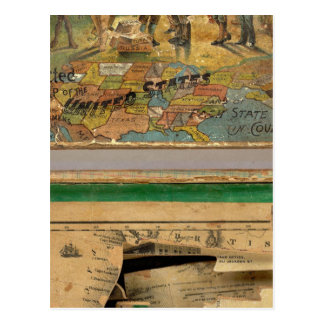 Box Dissected map, United States Postcard