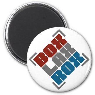 Box Lacrosse Rocks 2 Inch Round Magnet