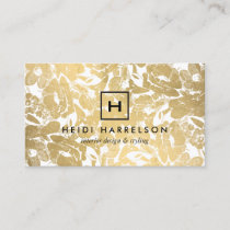 Box Logo Monogram with Faux Gold Floral Pattern Business Card