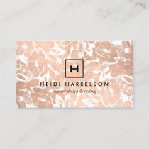 Box Logo Monogram with Rose Gold Floral Pattern Business Card