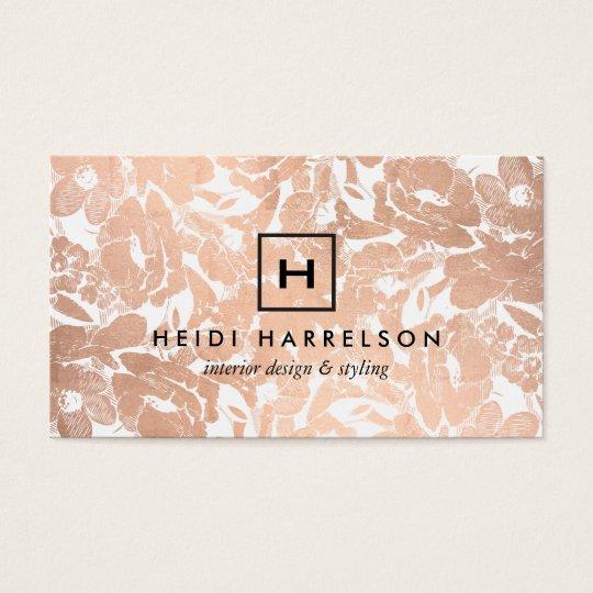 Box logo monogram with rose gold floral pattern business card box logo monogram with rose gold floral pattern business card reheart Image collections