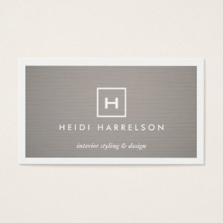 BOX LOGO w YOUR INITIAL/MONOGRAM on GRAY LINEN 2 Business Card