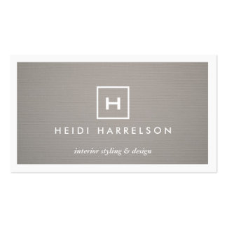 BOX LOGO w YOUR INITIAL/MONOGRAM on GRAY LINEN 2 Double-Sided Standard Business Cards (Pack Of 100)