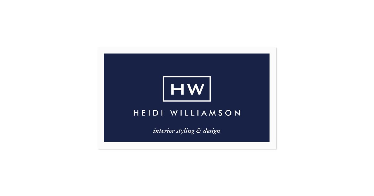 Box Logo with Two Initials Monogram on Dark Blue Business