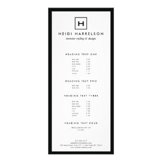 BOX LOGO with YOUR INITIAL/MONOGRAM Black/White Rack Card