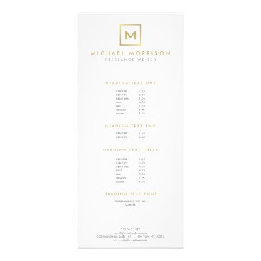 BOX LOGO with YOUR INITIAL/MONOGRAM Gold/White Rack Card