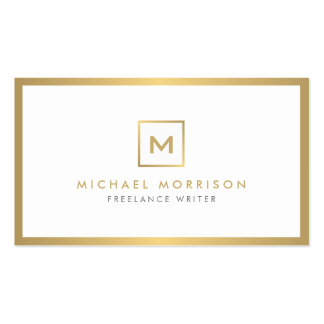 BOX LOGO with YOUR INITIAL/MONOGRAM in Faux Gold Double-Sided Standard Business Cards (Pack Of 100)