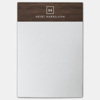 BOX LOGO with YOUR INITIAL/MONOGRAM on BROWN WOOD Post-it Notes