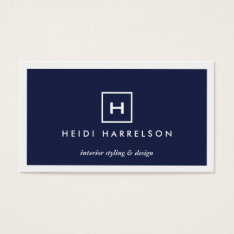 BOX LOGO with YOUR INITIAL/MONOGRAM on DARK BLUE Business Card at Zazzle