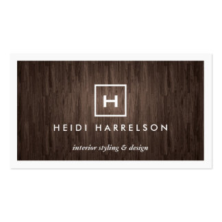 BOX LOGO with YOUR INITIAL/MONOGRAM on DARK WOOD Business Card Templates