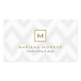 BOX LOGO with YOUR INITIAL/MONOGRAM on Gray Ikat Double-Sided Standard Business Cards (Pack Of 100)