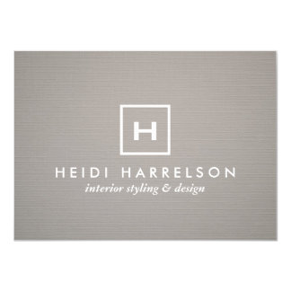 BOX LOGO with YOUR INITIAL/MONOGRAM on GRAY LINEN 4.5x6.25 Paper Invitation Card