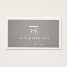 Box Logo With Your Initial/monogram On Gray Linen Business Card at Zazzle