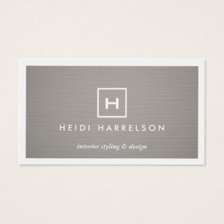 BOX LOGO with YOUR INITIAL/MONOGRAM on GRAY LINEN Business Card