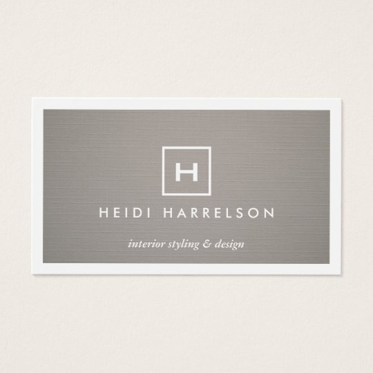 Box logo with your initialmonogram on gray linen business card box logo with your initialmonogram on gray linen business card reheart Gallery