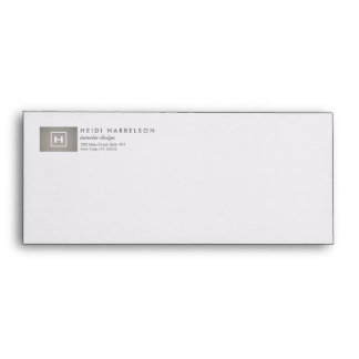 BOX LOGO with YOUR INITIAL/MONOGRAM on GRAY LINEN Envelope