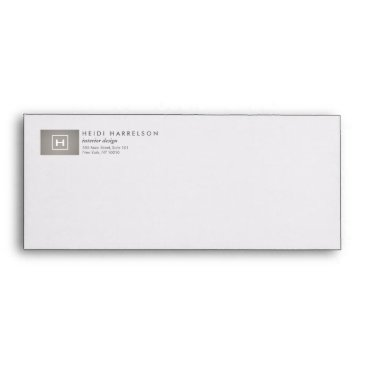 1201am BOX LOGO with YOUR INITIAL/MONOGRAM on GRAY LINEN Envelope