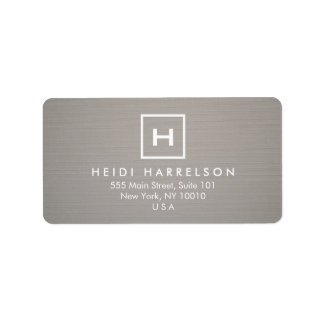 BOX LOGO with YOUR INITIAL/MONOGRAM on GRAY LINEN Label