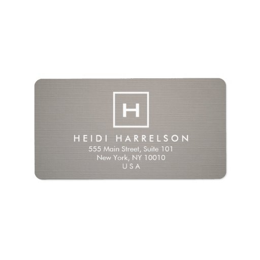 BOX LOGO with YOUR INITIAL/MONOGRAM on GRAY LINEN Personalized Address Label