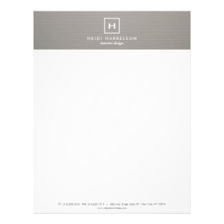 BOX LOGO with YOUR INITIAL/MONOGRAM on GRAY LINEN Letterhead