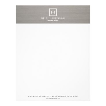 1201am BOX LOGO with YOUR INITIAL/MONOGRAM on GRAY LINEN Letterhead