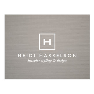 BOX LOGO with YOUR INITIAL/MONOGRAM on GRAY LINEN Postcard