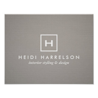 BOX LOGO with YOUR INITIAL/MONOGRAM on GRAY LINEN Poster