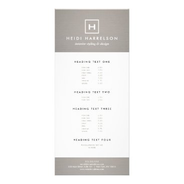 BOX LOGO with YOUR INITIAL/MONOGRAM on GRAY LINEN Rack Card
