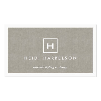 BOX LOGO with YOUR INITIAL/MONOGRAM on KHAKI LINEN Double-Sided Standard Business Cards (Pack Of 100)