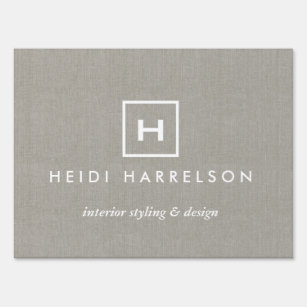 BOX LOGO with YOUR INITIAL/MONOGRAM on KHAKI LINEN Yard Sign