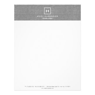 BOX LOGO with YOUR INITIAL/MONOGRAM on LINEN GRAY Letterhead