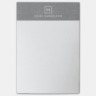 BOX LOGO with YOUR INITIAL/MONOGRAM on LINEN GRAY Post-it® Notes