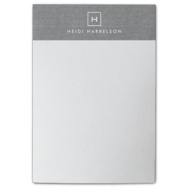 1201am BOX LOGO with YOUR INITIAL/MONOGRAM on LINEN GRAY Post-it Notes