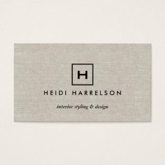 BOX LOGO with YOUR INITIAL/MONOGRAM on TAN LINEN Business Card