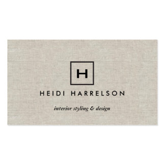 BOX LOGO with YOUR INITIAL/MONOGRAM on TAN LINEN Double-Sided Standard Business Cards (Pack Of 100)
