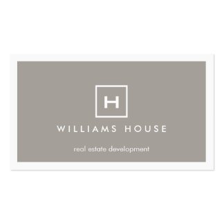 BOX LOGO with YOUR INITIAL/MONOGRAM on TAUPE Double-Sided Standard Business Cards (Pack Of 100)