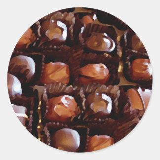 Box of Chocolates, Tempting Chocolate Candy Classic Round Sticker