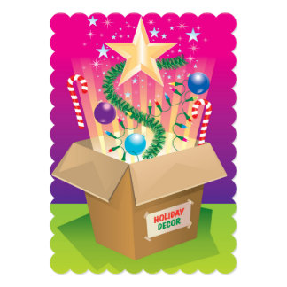 Box of Christmas decorations Card