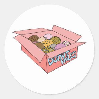 box of donut holes classic round sticker