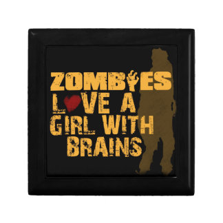 box that says zombies love a girl with brains