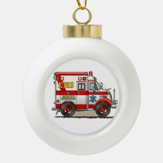 Box Truck Ambulance Ceramic Ball Christmas Ornament