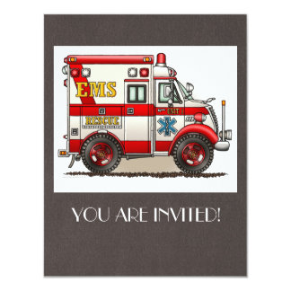 Box Truck Ambulance 4.25x5.5 Paper Invitation Card