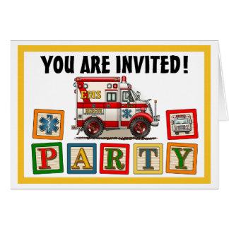 Box Truck Ambulance Party Invitation