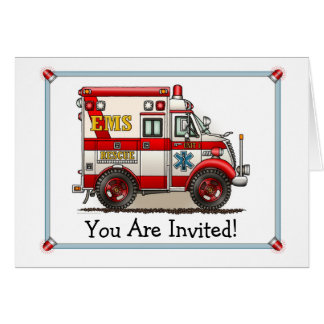 Box Truck Ambulance Party Invitation Greeting Card