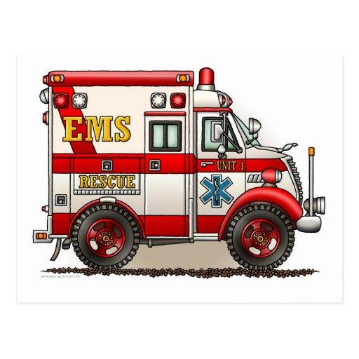 Box Truck Ambulance Postcard