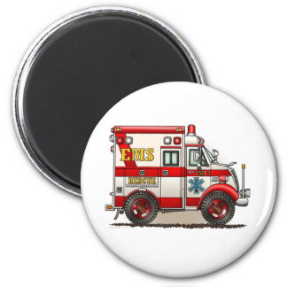 Box Truck Ambulance Round Magnet